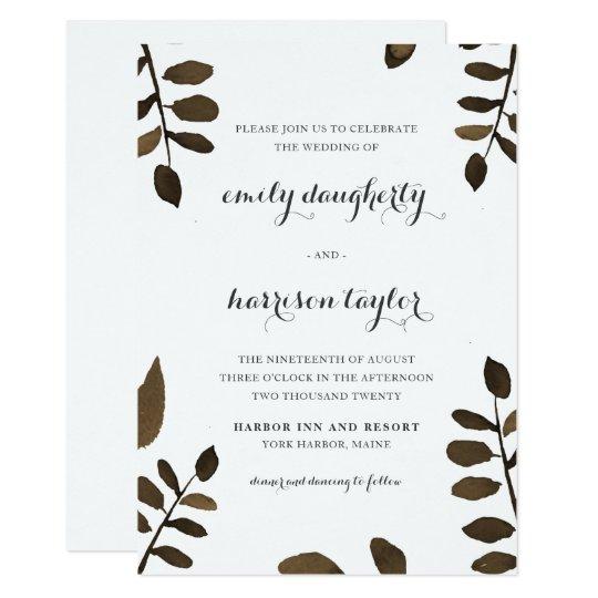 Rustic Botanical Leaves Wedding Card