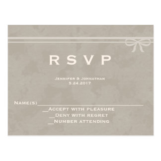 Rustic bow wedding RSVP cards