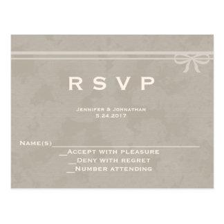 Rustic bow wedding RSVP cards Postcard