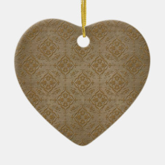 Rustic Brass Brown Damask Pattern Ceramic Heart Decoration