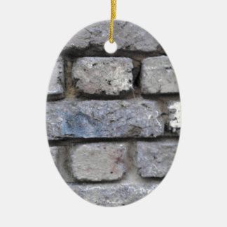 Rustic brick stone wall ceramic oval decoration