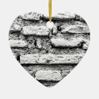 Rustic brickwall ceramic heart decoration