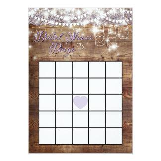 Rustic Bridal Shower Bingo Game Lavender Card