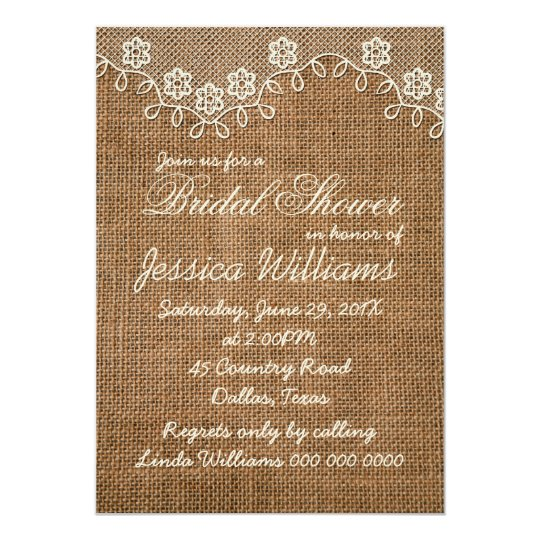 Rustic Bridal Shower Burlap And Lace Card