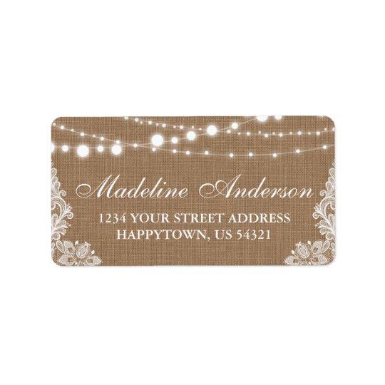 Rustic Bridal Shower Burlap Lights Lace Address Label