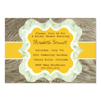 Rustic Bridal Shower Invitation Chintz and Wood