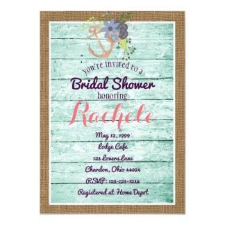 Rustic Bridal Shower Invitation w Anchor & Burlap