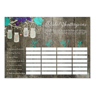 Rustic Bridal Shower Scattergories Love Game Card