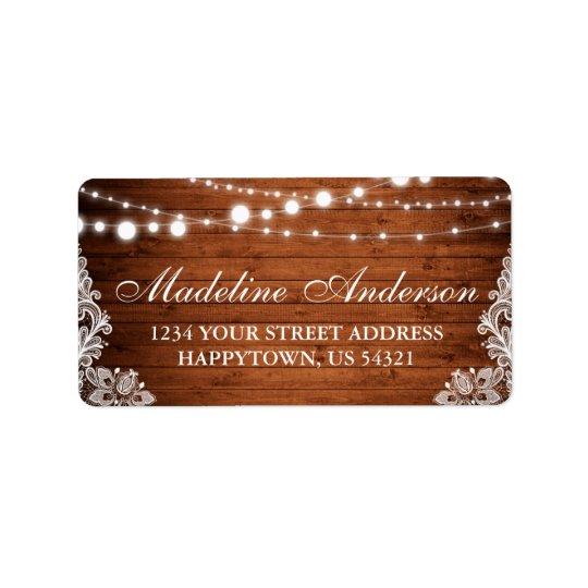 Rustic Bridal Shower Wood Lights Lace Address Label