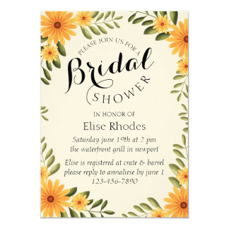 Rustic bright yellow sunflower bridal shower card