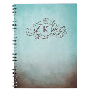 Rustic Brown and Teal Bohemian  Flourish Notebooks