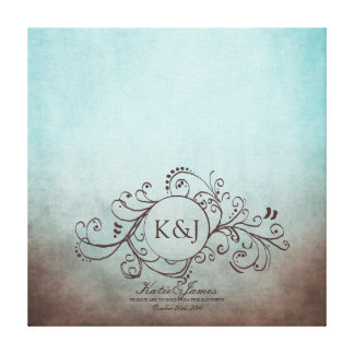 Rustic Brown and Teal Bohemian Guest Book Canvas Stretched Canvas Prints