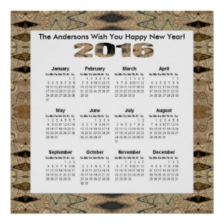 Rustic Brown Black 2016 yearly calendar Poster