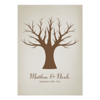 Rustic Brown Fingerprint Tree Wedding Poster
