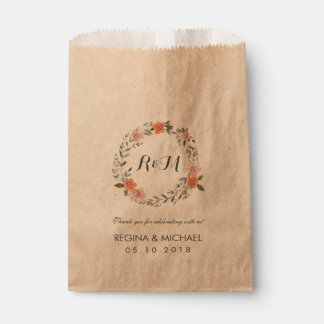Rustic Brown Floral Wreath Monogram Wedding Party Favour Bags