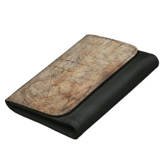 Rustic Brown Grunge Antique World, Leather Wallet
