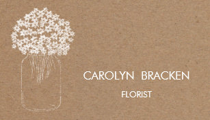 Kraft business cards zazzle uk rustic brown kraft paper mason jar flowers business card reheart Image collections