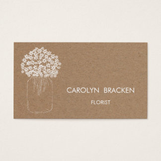 Rustic Brown Kraft Paper Mason Jar Flowers Business Card