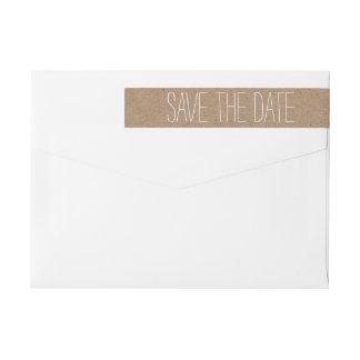 Rustic Brown Kraft Paper Save The Date Wedding 2 Wrap Around Label