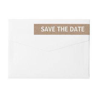 Rustic Brown Kraft Paper Save The Date Wedding Wrap Around Label