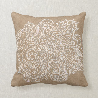 Rustic Brown Lace Pattern Beautiful Paisley Doodle Cushion