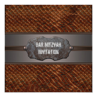 Rustic Brown Leather Brown Bar Mitzvah 13 Cm X 13 Cm Square Invitation Card