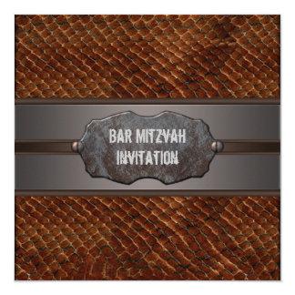 Rustic Brown Leather Brown Bar Mitzvah Card