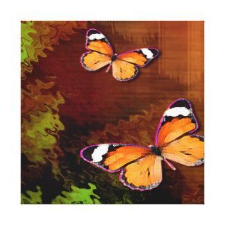 Rustic Brown Orange Butterflies Canvas Prints