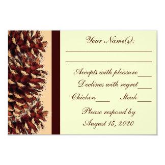 Rustic brown peach pine cone wedding RSVP cards 9 Cm X 13 Cm Invitation Card