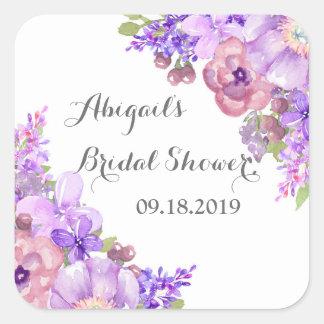 Rustic Brown Purple Floral Bridal Shower Tag Square Sticker