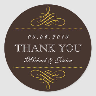 Rustic Brown Swirls Ornament Wedding Stickers