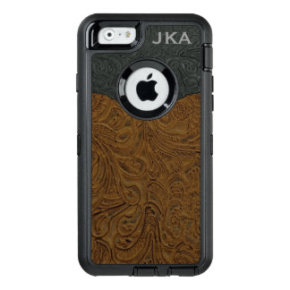 Rustic Brown Tooled Leather Personalized OtterBox Defender iPhone Case