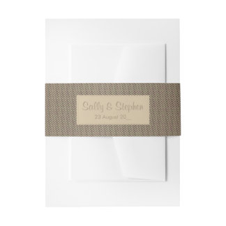 Rustic brown wedding invitation belly band
