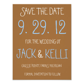Rustic Brown Wedding Save-the-Date 11 Cm X 14 Cm Invitation Card