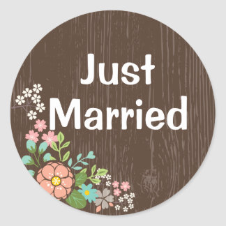 Rustic Brown Wood Just Married Pink Floral Wedding Classic Round Sticker