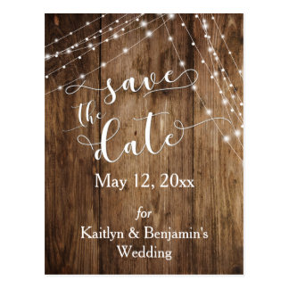 Rustic Brown Wood, Light Strings Save the Date Postcard
