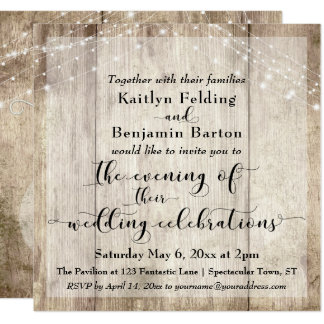 Rustic Brown Wood & Lights Evening Wedding Events Card