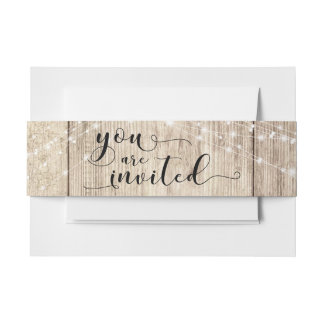 """Rustic Brown Wood & Lights """"You are Invited"""" Invitation Belly Band"""