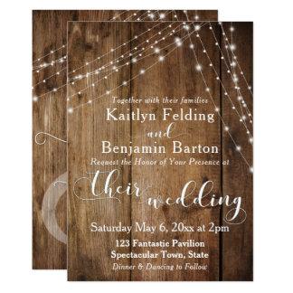Rustic Brown Wood, White Light Strings Wedding 2 Card