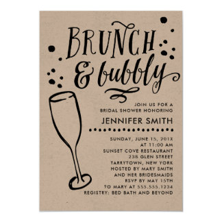 Rustic Brunch And Bubbly Bridal Shower Invitation