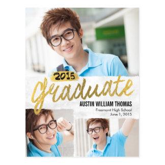 Rustic Brush Graduation Announcement /Invitation Postcard