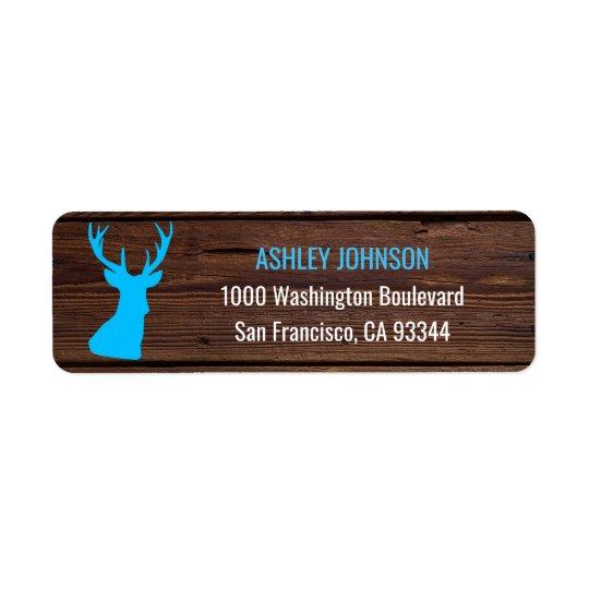 Rustic Buck Blue Boy Baby Shower Return Address