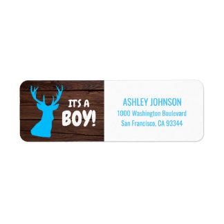 Rustic Buck Blue Boy Baby Shower Return Address Return Address Label