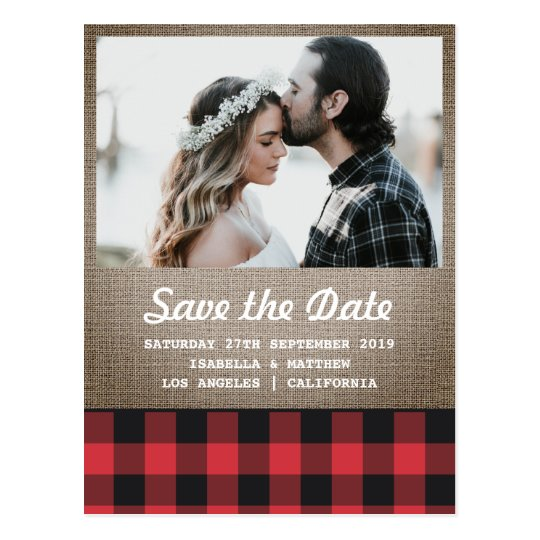 Rustic Buffalo Plaid & Burlap Photo Save the