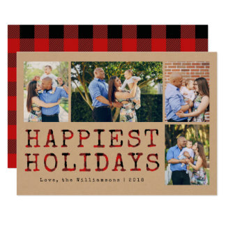 Rustic Buffalo Plaid Happiest Holidays Photo Card