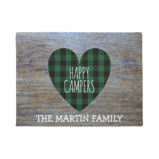 Rustic Buffalo Plaid Heart Custom |  Happy Campers Doormat