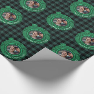 Rustic Buffalo Plaid | Merry Christmas Photo Green Wrapping Paper