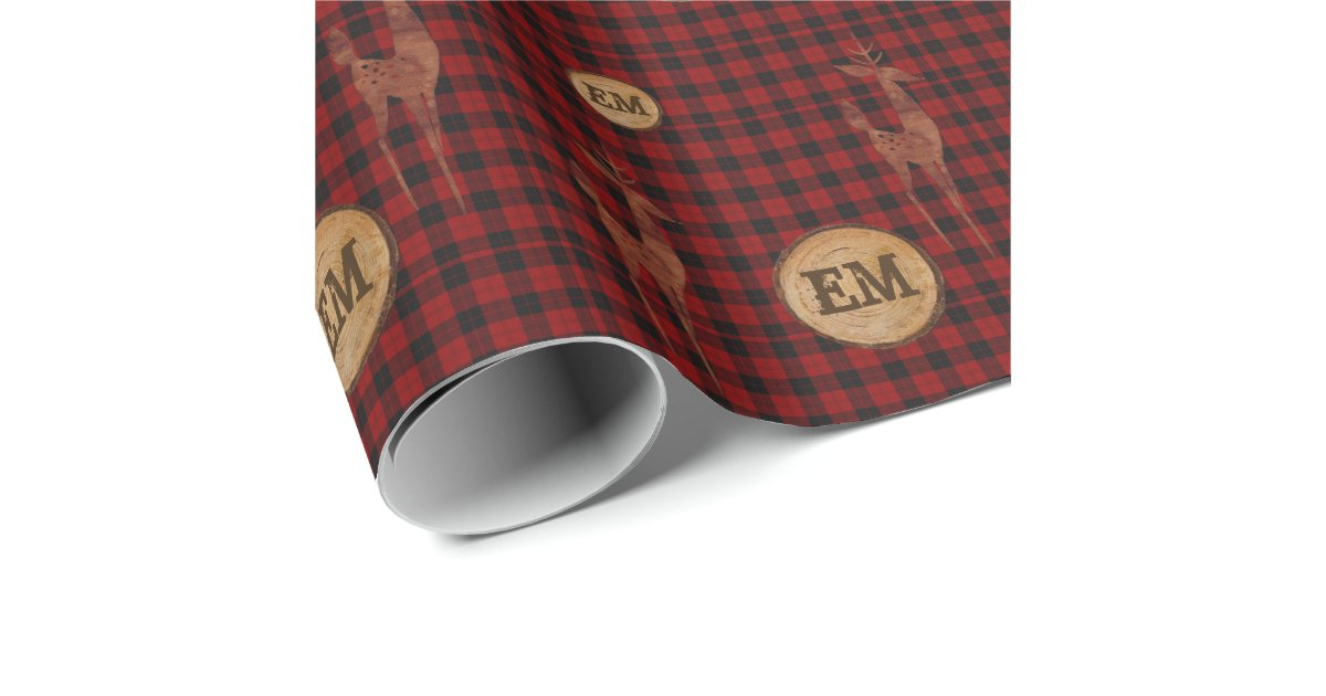 Rustic Buffalo Plaid Stag Monogram Initials RED Wrapping ...