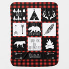 Rustic Buffalo Plaid Wilderness Animals & Name Baby Blanket