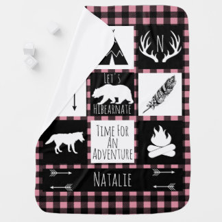 Rustic Buffalo Plaid Wilderness Animals & Name Baby Blankets